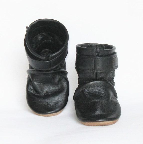 Black Recycled Leather Baby Boot CUSTOM sized