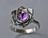 Lotus Amethyst Sterling Silver Cocktail Ring