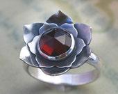 Lotus Garnet Sterling Silver Cocktail Ring