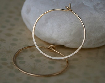 14k Gold filled or Rose Gold filled Medium Hoops Handmade Round, Classic Minimalist Hoops 14 karat Gold Fill Earrings