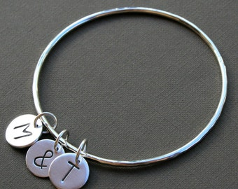 Custom Love Letter Charm Bangle Sterling Silver, Personalized Charm Bracelet, 2 Initials & Ampersand, Stacking Bracelet, Valentines Day Gift