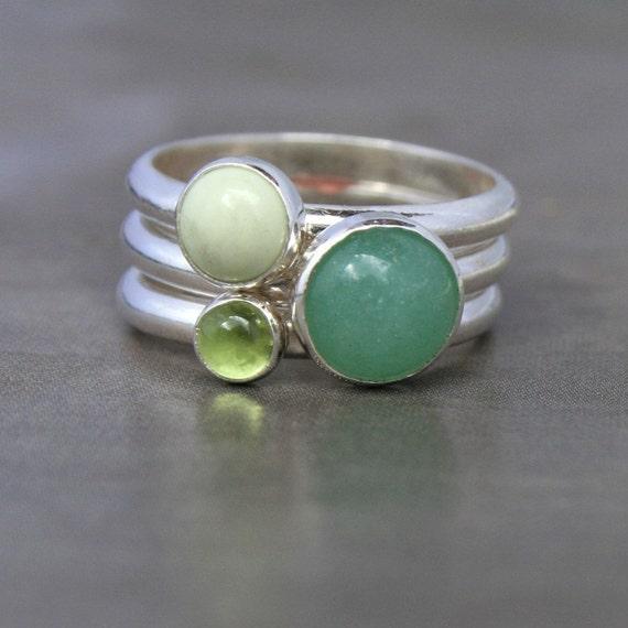 Spring Greens, Stacking Rings, Sterling Silver, Aventurine, Peridot, Lemon Chrysoprase, Gemstones