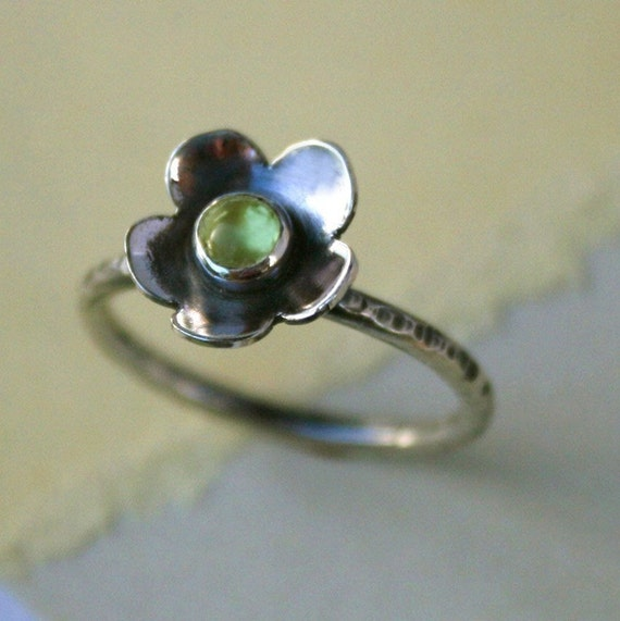 Peridot Flower Ring, Sterling Silver,  Stacking Gemstone Ring Stackable