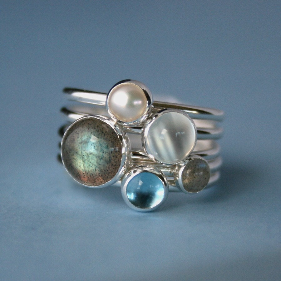 Moonlight On Water Stacking Rings Gemstone Pearl