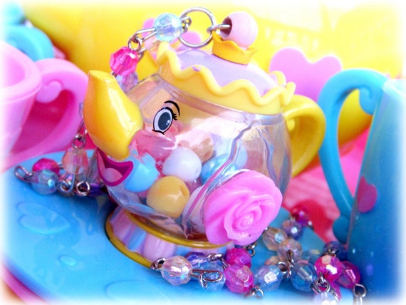 Adorable Mrs potts rose teapot necklace filled with colorful beads necklace on multicolored beaded chain OOAK