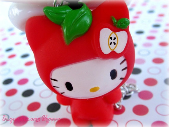 Adorable Sweet apple bobblehead Hello kitty necklace on big white ribbon bow with sparkle rhinestone apple
