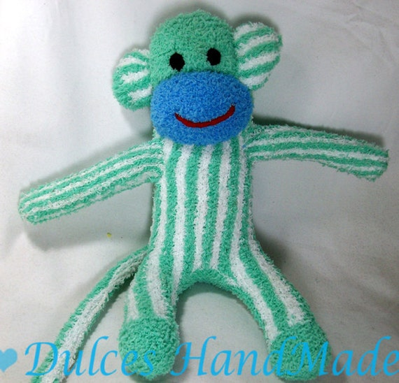 Green and white blue striped sock monkey's plush toy Handmade Stuffed Animal Doll Baby Large