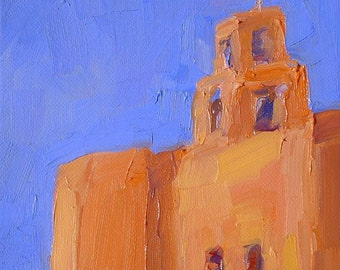 Set of 2 Spanish church paintings on 6 by 6 wide edge canvas