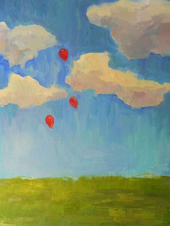 impressionistic oil painting of balloons floating  ORIGINAL Oil Painting Large 30 X 40inch