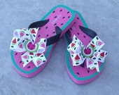 LAST PAIR - OOAK Limited Edition Summer Fun Watermelon Picnic Boutique Flip Flops - Toddler Size 8/9
