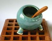 bluish green salt pig - handthrown stoneware
