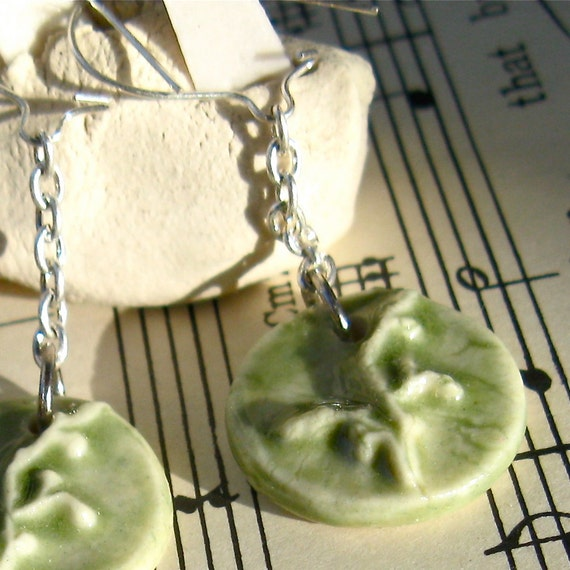 Light Green Porcelain Drop Earrings - handmade ceramics