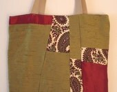 Green and maroon paisley patchwork tote