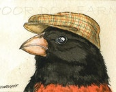 ACEO signed PRINT - Red Grosbeak