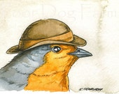 ACEO signe PRINT - Little Robin with hat