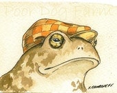 ACEO signed PRINT -Mr Toad with hat