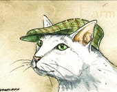 ACEO signed PRINT - Cat with a hat