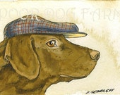 Chocolate Lab in a hat- print 5x7