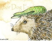 ACEO signed Print- Hedgehog with Hat