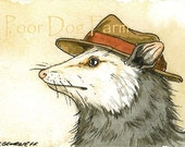 ACEO signed PRINT -- Possum in a hat --