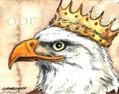ACEO signed PRINT - Eagle in a Crown