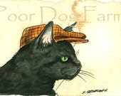 Black Cat in a Hat - 5 x 7 print