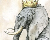 Elephant  King  5x7 Sepia Print