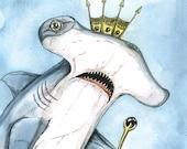 Hammerhead Shark Queen 5 x 7  (an original hand painted queen)