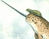 Narwhal with hat- print 5x7