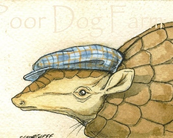 ACEO signed PRINT- Armadillo