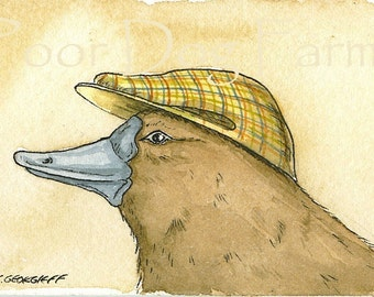 ACEO signed PRINT - Platypus with a hat