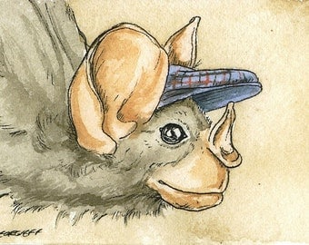 ACEO signed Print - Ghost Bat with hat