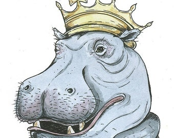 Hippo King 5x7 hand painted print