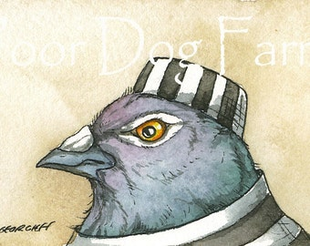 ACEO signed Print - JAILBIRDS - Inmate n0. 4-  Pigeon's brother, Pigeon