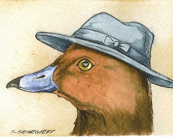ACEO signed PRINT - Brownie Duck with hat