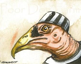 ACEO signed PRINTJAILBIRDS - Inmate n0. 5-  Vulture