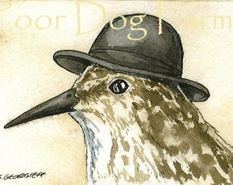 ACEO signed PRINT -Sandpiper with hat
