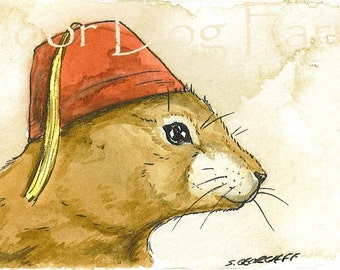 ACEO signed PRINT -    Prairie dog in a Fez