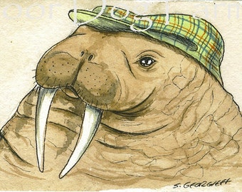 ACEO signed PRINT -Walrus in a Hat-