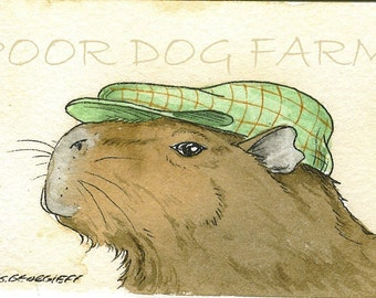 ACEO signed PRINT -Capybara in Green