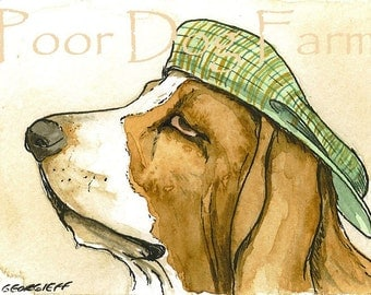 ACEO signed Print- Basset in a hat