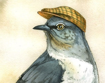 Dapper Mockingbird print 8x10