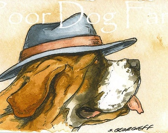 ACEO signed PRINT - St. Bernard in a hat
