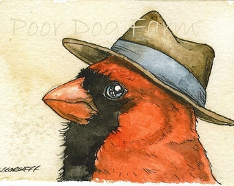 ACEO signed PRINT - Cardinal  with hat