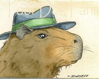 ACEO signed Print - Capybara Godfather