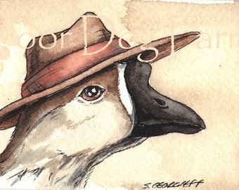 ACEO signed PRINT - Gander in a hat -