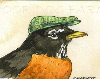 ACEO signed PRINT - Robin with hat