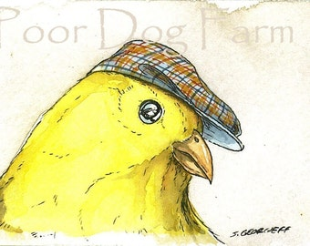 ACEO signed Print- Dapper Canary-