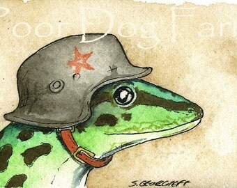ACEO signed PRINT - Gecko in a Helmet n0. 1