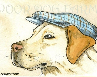 ACEO signed PRINT -Yellow Lab in a hat